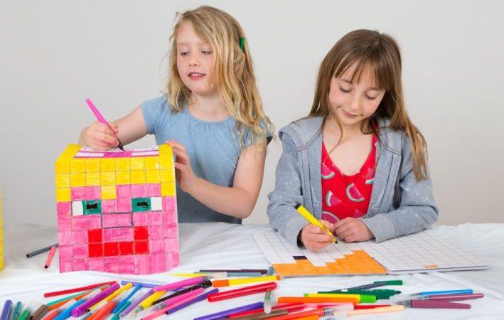 Children creating BoxHeads