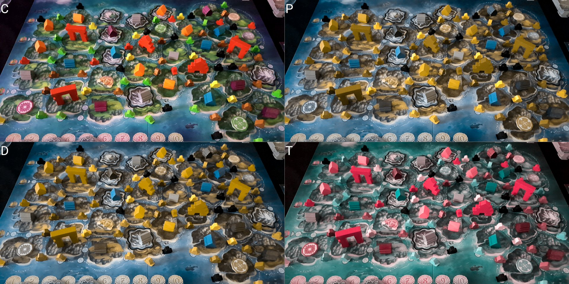 Comparison of Yamatai for varying color blindness