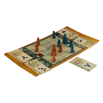 The Onitama game mat and pieces showing how the game looks while playing.